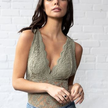 Lacy Days Bodysuit in Sage