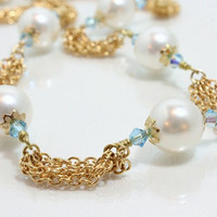 Pearl, Swarovski Crystal, and Gold Chain Necklace