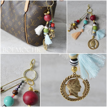 Hand Crafted Purse Charm / Perfect for Louis Vuitton / LARGE Tassel Purse Charm / Tibetan / Festival Chic / Bohemian Style / Mixed Medium