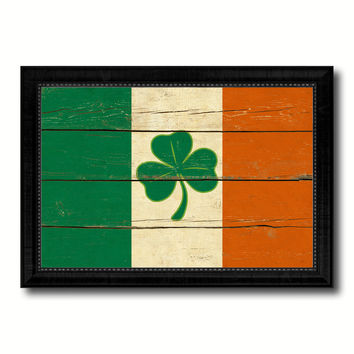 Ireland Saint Patrick Military Flag Vintage Canvas Print with Black Picture Frame Home Decor Wall Art Decoration Gift Ideas