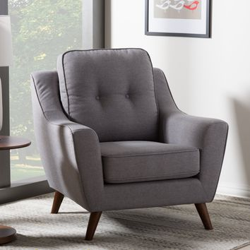 Baxton Studio Deena Mid-Century Modern Light Grey Fabric Upholstered Walnut Wood Button-Tufted Armchair Set of 1