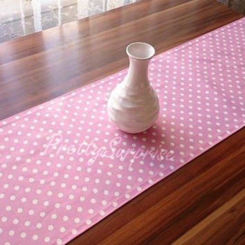 Pink Polka-Dot Table Runner, Modern Table Runner, Colorful Table Cover, Duck Tablecloth, Cotton Table Runner