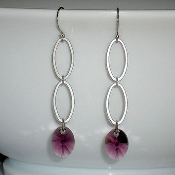 silver multi oval link earrings, purple crystal earrings, crystal drop earrings, silver dangle earring, silver long earring, double teardrop