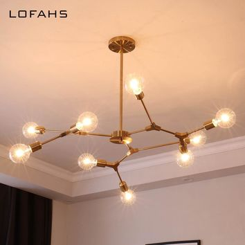 Deformable Chandelier Lighting Golden Black Lamp Fixture