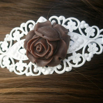 Rose headband - Filigree headband- Brown and white rose headband- Chocolate brown headband- White headband- Filigree- Feminine- Romance