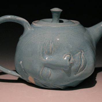 Dreamer Teapot Face Sculpture, Surreal Art Pottery Head Porcelain Turquoise Blue Serving Vessel