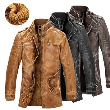 High Quality Leather Jacket For Men Slim Warm Moto Jacket