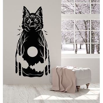 Vinyl Wall Decal Wolf Animal Nature Moon Bedroom Stickers Mural (g3134)