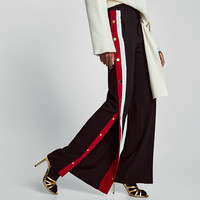 PYJAMA-STYLE TROUSERS WITH SIDE STRIPES DETAILS