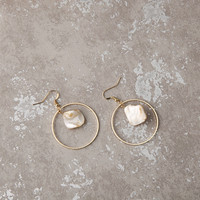 Tiny - Gold plated hoop stone dangle earrings