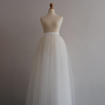 The Bride - ladies tulle skirt / adult tutu skirt  / off white tulle skirt / weddings / floor length tulle skirt