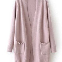 Pink Long Sleeve Pockets Loose Cardigan Sweater