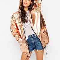 ASOS | ASOS Rain Trench In Rose Gold Metallic at ASOS