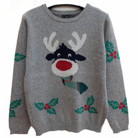 Gray Reindeer Leaf Print Christmas Sweater