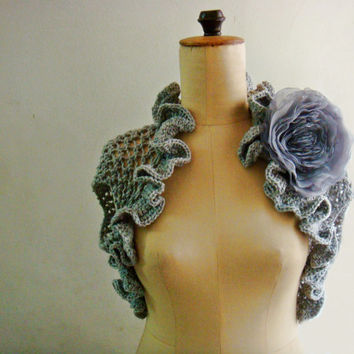PDF Pattern Knit Shrug Bolero with Chiffon Flower