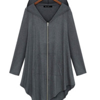 Zipper Asymmetric Large Cardigan Hooded Solid Color Hoodie