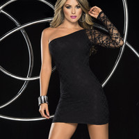 Sexy Black Mini Dress With Lace Sleeve-Clubwear Dresses