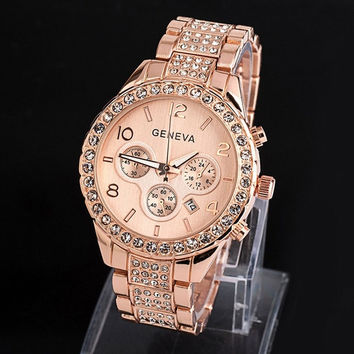 Luxury Women Fashion Analog Crystal Quartz Watch = 1956933316