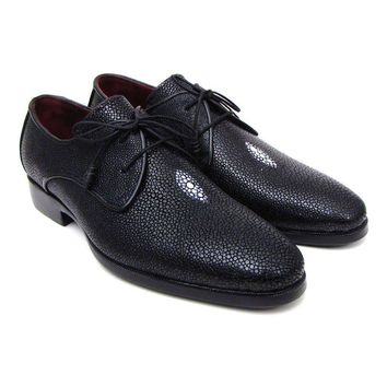 Paul Parkman Full Genuine Black Stingray Goodyear Welted Derby Shoes For Men (ID#84U47