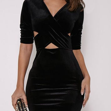 Velvet Cross Front Cut Out Half Sleeve Bodycon Dress