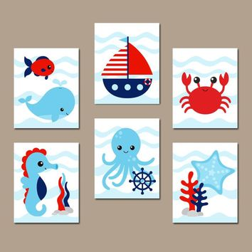 OCEAN Animals Wall Art, CANVAS or Print, Ocean Animal Bathroom Decor, Under the Sea Animals, Nautical Bath Decor, Kid Child Bath, Set of 6
