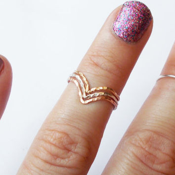 TriColor Chevron Stacking Rings - Sterling Silver, Rose Gold Filled, and Gold Filled -  Three Tone Knuckle Rings - Set of 3