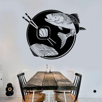 DCTAL Sushi Sticker Japan Fish Food Decal Poster Vinyl Art Wall Decals Pegatina Quadro Parede Decor Mural Sushi  Sticker