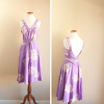 70s hawaiian dress lavender wrap dress by pistolpoppy on Etsy