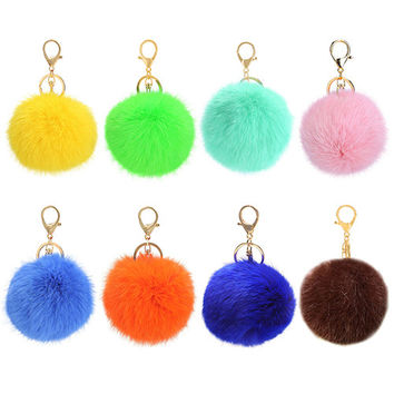 Hot Furry Ball Keychain Bag Key Hanging Tail Accessories Rabbit Fur Key Ring 8959