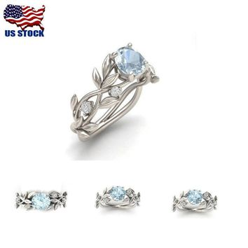 US Women 925 Silver Floral Ring Transparent Aquamarine Wedding Jewelry Size 6-10