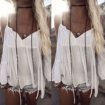 Fashion Summer Women Off Shoulder Long Sleeve Casual T-Shirt Tops Loose Blouse