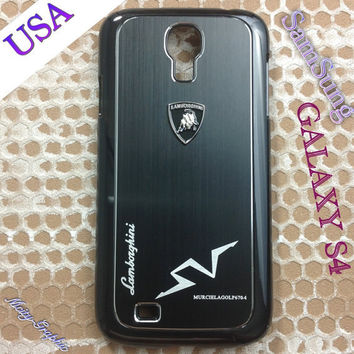 Lamborghini Samsung Galaxy S4 Case Lamborghini 3D metal Logo Premium Cover for S4 / i9500 - Black