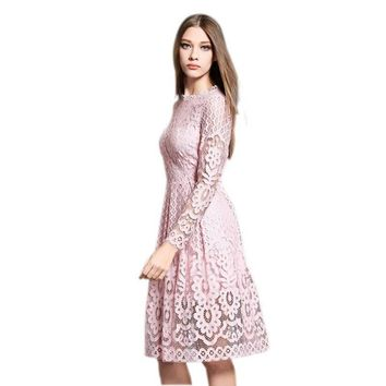 2018 Newest Spring  High Quality Women Bohemian White Lace Crochet Casual Long Sleeve Dress