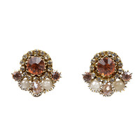 Rose & Gold Crystal Cluster Earrings