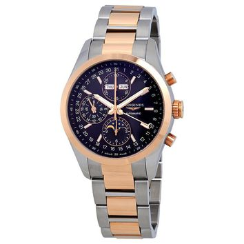 Longines Conquest Classic Black Dial Chronograph Stainless Steel and 18K Rose