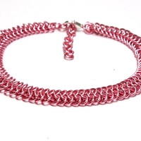 Dog Collar. Pink Chainmaille Dog Collar. Small Dog Collar. Unusual Cat Collar. Hot Pink Chain Pet Jewelry. Dark Pink Pet Collar. Ring Collar