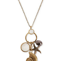 Lucky Brand Necklace, Gold-Tone Sea Charm Pendant Necklace - Fashion Necklaces - Jewelry & Watches - Macy's