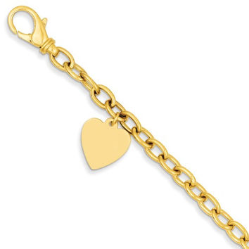 14k Gold Link with Heart Charm Bracelet