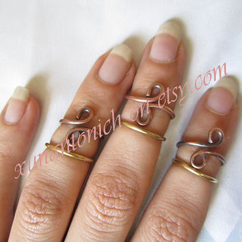 rose gold ring, knuckle ring, wire ring, copper ring, brass ring, handmade ring, toe ring ,set of upper ring , set of knucle ring , for her