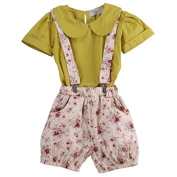 Baby girl clothes kids shorts clothing sets girls t shirts+bib pant 2 pieces Clothing Sets