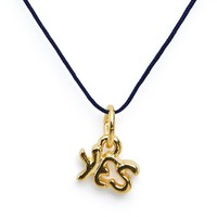 "18plgldcharmcrdy - 18Kt Plated Gold Charm on Cord - ""Yes"