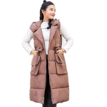 Womens Hooded Long Puffy Winter Vest Coat