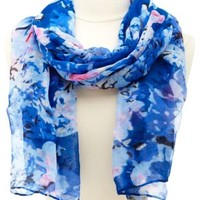 Blue Combo Lightweight Floral Print Scarf by Charlotte Russe
