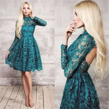 Pretty Sexy Lace High Neck Mini Short Cocktail Dresses 2016 Long Sleeves A Line Open Back Above Knee Length Cocktail Dresses