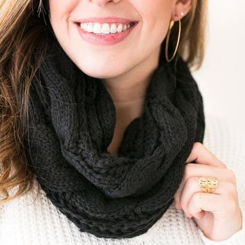 All For Love Cable Knit Infinity Scarf- Black