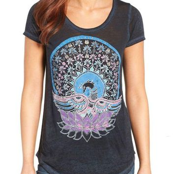 LMFYW3 Lucky Brand Swan Tee American Navy
