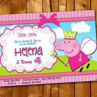 Peppa Pig Princess Birthday, Birthday Invitation, Birthday Party for little boy and little girl