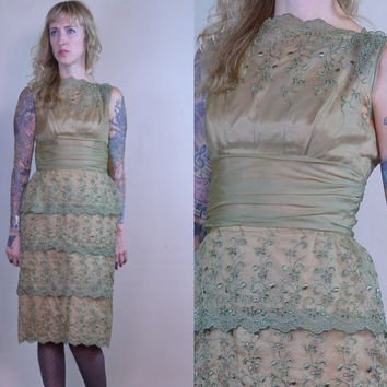 Vintage 50's Sheer Olive Green Embroidered Cocktail Dress