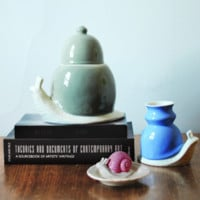 The Dwellers Snail Ceramic Canister BLUE design by imm Living – BURKE DECOR