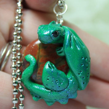 Dragon Pendant Silver Leaf Agate and Green Polymer Clay